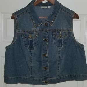 Denim cropped vest
